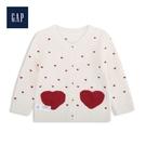 Gap男女嬰兒甜美愛心圓領針織開衫524650-象牙白