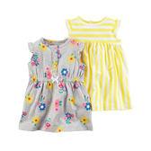 Carter's平行輸入童裝 女寶寶 無袖裙子(2入)&內褲 黃條紋【CA121I174】