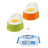 【奇買親子購物網】小獅王辛巴simba四合一成長學幼兒便器(綠/橘)+貝恩嬰兒保養柔濕巾80抽1入