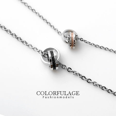 項鍊 專櫃等級西德鋼製雙環經典格紋情侶對鍊 抗過敏氧化【NB558】單條價格