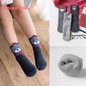 caramella兒童襪嬰兒襪子冬季加厚保暖純棉加絨寶寶地板毛圈襪