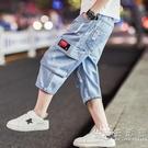 男童牛仔褲薄款夏季2021新款兒童短褲中褲五分褲中大童馬褲七分褲 小時光生活館