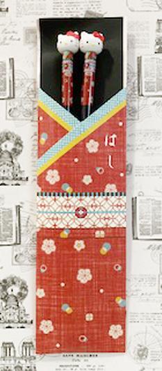 【震撼精品百貨】Hello Kitty 凱蒂貓~三麗鷗 kitty 日本造型竹筷/筷子(21CM)-和風紅#12340