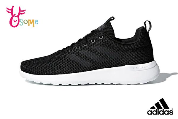 adidas男鞋 跑步鞋LITE RACER CLN 運動鞋 透氣輕量慢跑鞋 軟底 Q9390#黑白◆OSOME奧森鞋業