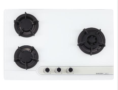 【甄禾家電】櫻花 SAKURA 瓦斯爐 爐具 G2633G三口大面板易清檯面爐 限大台北免運 黑/白強化玻璃