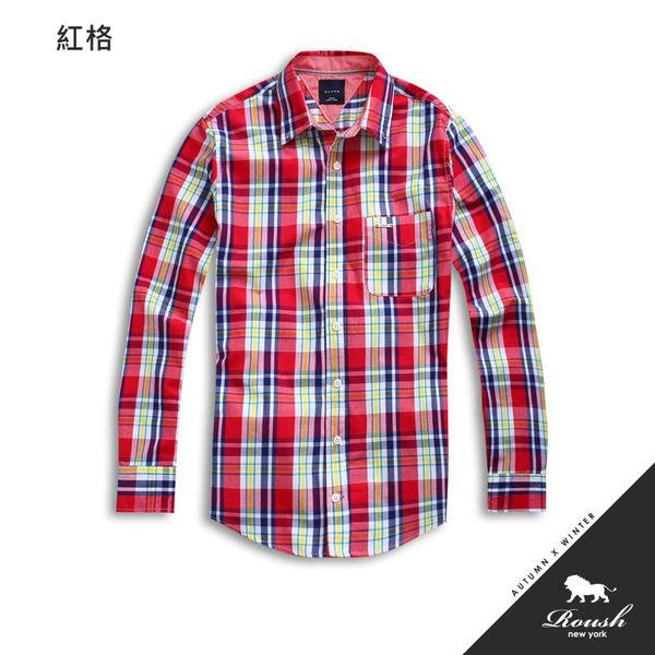 【Roush】(Slim fit) 鐵牌設計亮色系格紋襯衫 - 【51112】