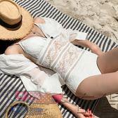 黑五好物節 韓國鏤空bikini連體保守小胸大胸遮肚顯瘦游泳衣女【奇貨居】