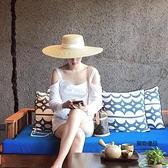 草帽大檐海邊度假沙灘帽平頂英倫時尚百搭氣質優雅平沿貼布海灘帽【聚物優品】