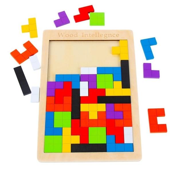 俄羅斯方塊拼圖積木制兒童早教益智力
