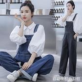 牛仔吊帶褲女小個子春季新款韓版寬鬆時尚兩件套洋氣減齡套裝 居家物語