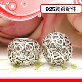 銀鏡DIY S925純銀配件-硫化簍空心心相印愛心型墜飾/隔珠C~適手作串珠蠶絲蠟線/潘珠大孔串珠墜飾