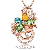 《Caroline》★頂級彩色鋯鑽華麗花朵設計迷人風采無限動人.奥地利水晶元素 時尚項鍊69952