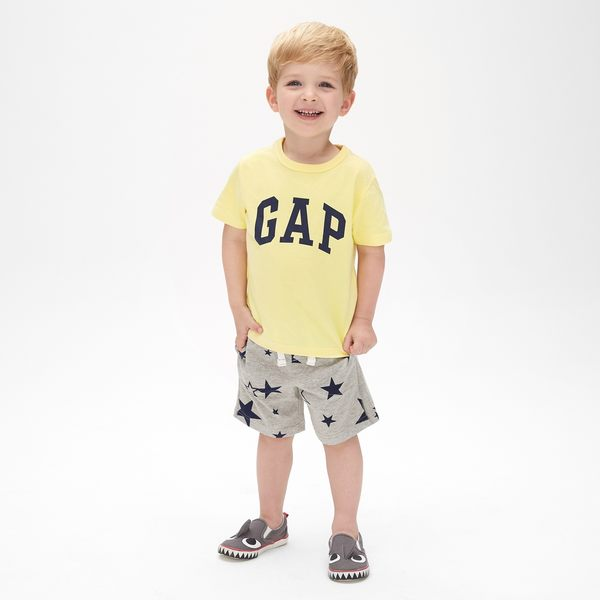 Gap男嬰幼童 Logo純棉圓領短袖T恤 467889-奶酪黃色