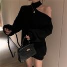韓版時尚掛脖露肩長袖毛衣針織連身裙寬松短裙子【聚可愛】