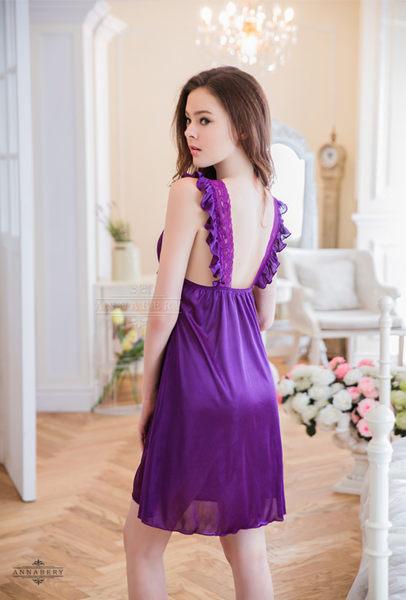 大尺碼 Annabery典雅深紫小蓋袖柔緞睡衣 (OS小舖)