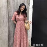 夏季韓版新款百搭溫柔可愛氣質長裙學生女V領格子短袖洋裝   芊惠衣屋