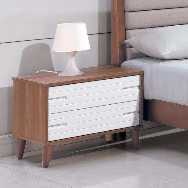 【森可家居】歐文北歐床頭櫃 7HY87-03 床邊櫃 木紋質感 MIT台灣製造