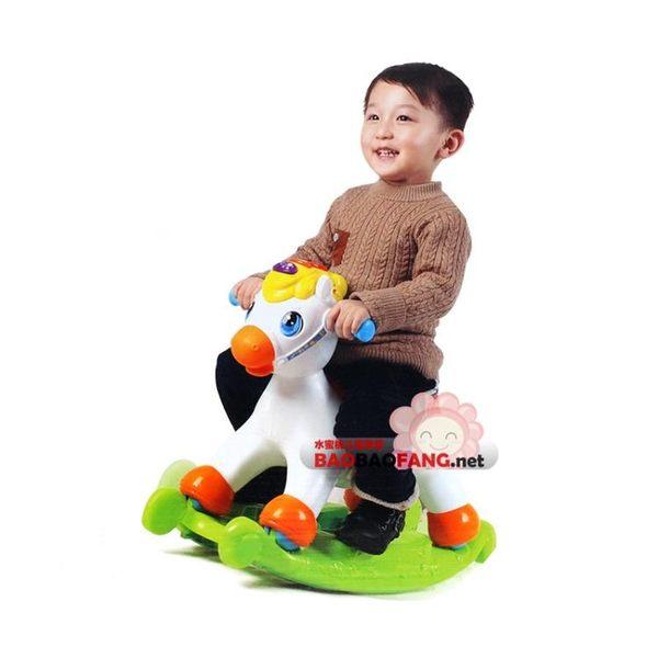 匯樂玩具四輪滑行搖搖馬滑車兩用寶寶嬰兒童塑料搖椅帶音樂3歲 igo智能生活館