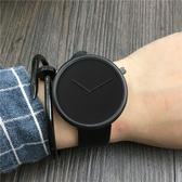 韓版時尚極簡約學生手錶男錶潮流創意無秒針概念手錶皮帶女錶石英  Cocoa