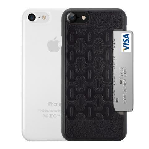 【漢博】Ozaki O!coat 0.3 iPhone 7 二合一包裝 超薄皮紋口袋殼+超薄霧透保護殼 -黑色(火山)/霧透白