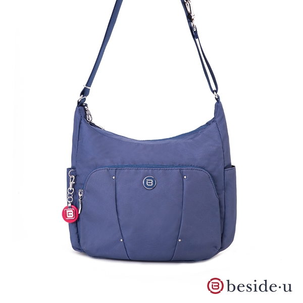 beside u 官方直營 BLL 防盜刷金屬點綴彎月斜肩包側背包 – 藍紫色