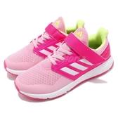 adidas 慢跑鞋 FortaFaito EL K 粉紅 白 魔鬼氈 運動鞋 童鞋 中童鞋【PUMP306】 F36104