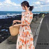 沙灘裙女高腰繫帶海邊度假荷葉邊連身裙【時尚大衣櫥】