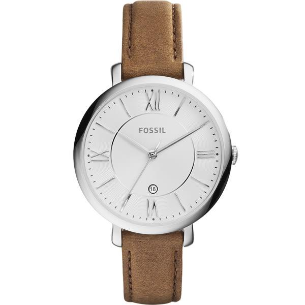 FOSSIL羅馬風尚優雅皮革腕錶-銀框x咖啡