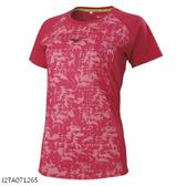 MIZUNO 女裝 短袖 上衣 T恤 慢跑 緹花網布後領反光 紅【運動世界】J2TA071265