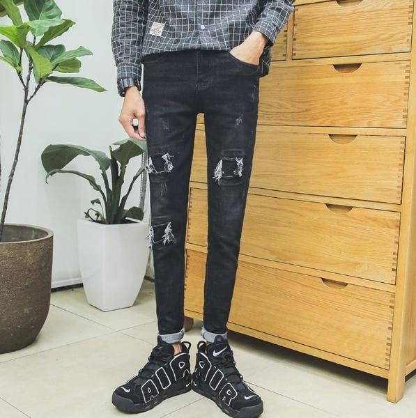 FINDSENSE品牌 港仔文藝男 磨破貓須 男潮流個性 修身小腳褲 破洞牛仔褲