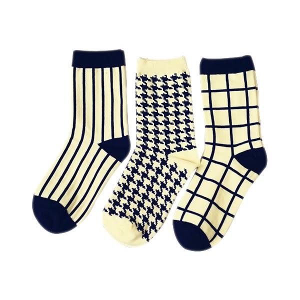 英倫學院風千鳥格/條紋/方格紋中筒襪(不挑款) 1雙入【小三美日】