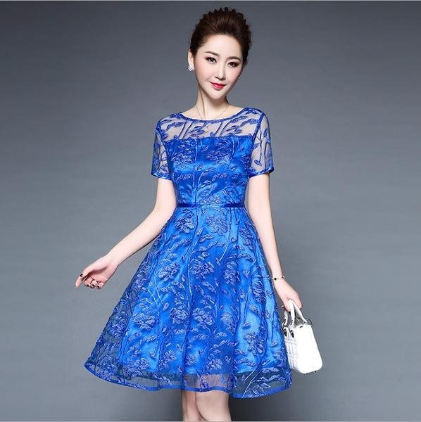 中大尺碼洋裝 媽媽禮服網紗刺繡蕾絲氣質連身裙 M-4XL #ybk6063❤卡樂store❤