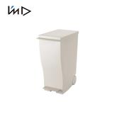 【 岩谷Iwatani 】純色曲線長型可分類腳踏垃圾桶附輪33L 白