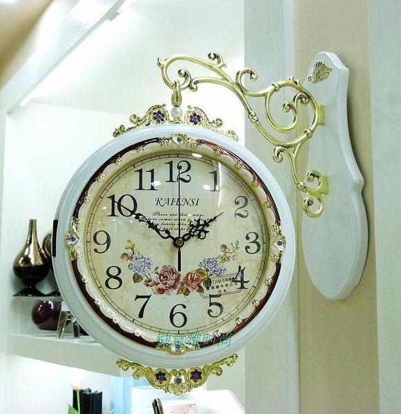 特價 歐式豪華實木雙面掛鐘