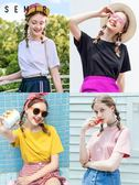 森馬T恤女短袖2018夏裝新款情侶寬鬆棉質純色上衣學生韓版