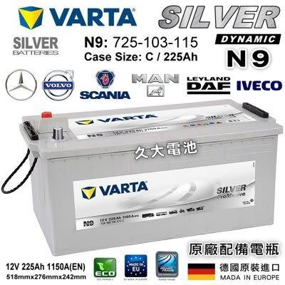 ✚久大電池❚ 德國進口 VARTA 225Ah  SCANIA Serie P,G,R,T G/P/R 230-480