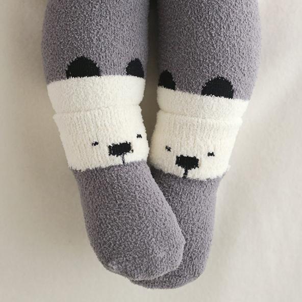 套組 正韓 KIDS CLARA 撞色動物臉內搭褲+嬰兒襪/襪子 超值2件組 - 灰筒黑白熊貓 Heating Leggings Set