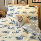 Blue cat 藍貓 S1單人床包2件組 四季磨毛布 北歐風 台灣製造 棉床本舖