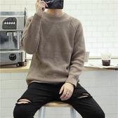 店長嚴選韓版bf風套頭毛衣男修身圓領黑色加厚針織衫潮流長袖毛線衣外套潮