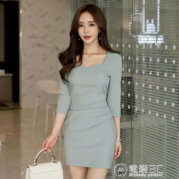 洋裝春裝女新款韓版OL氣質方領小香風修身褶皺七分袖包臀裙  聖誕節免運