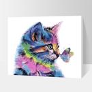 數字油畫diy彩虹貓減壓簡易畫臥室裝飾畫...