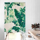 門簾 北歐綠植物布藝門簾隔斷半簾子裝飾布簾掛簾風水臥室家用客廳