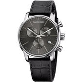 Calvin Klein CK City 都會紳士計時手錶-灰黑/43mm K2G271C3