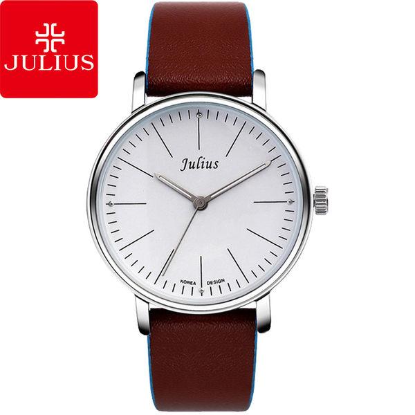 JULIUS 聚利時 早安地中海簡約大鏡面皮帶腕錶-白×棕/40mm 【JA-814MA】