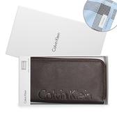 Calvin Klein荔枝紋皮革寬版拉鍊RFID防盜長夾(咖啡色/送帕巾)103046-1