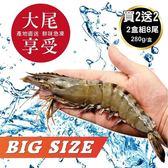 【海肉管家-買2送2】嚴選鮮凍大尾海草蝦 共4盒(約淨重280g±10%/盒 每盒8尾入)