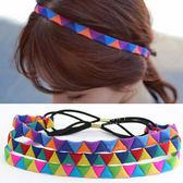 民族風布質三角形髮帶 彈性髮帶 幾何印花 民族風髮飾