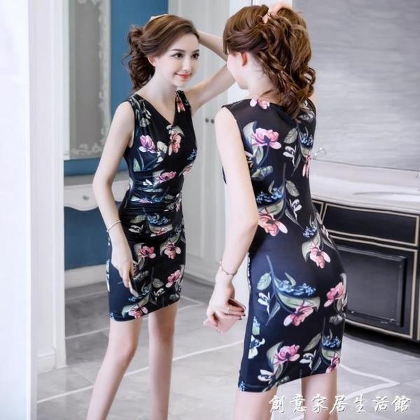 2020新款女裝潮緊身包臀夏天裙子仙女超仙森系性感修身性感洋裝 聖誕節免運