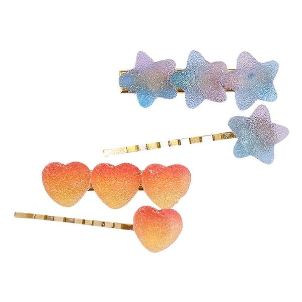 小清新糖果色愛心/星星造型一字夾(1入) 款式可選 【小三美日】顏色隨機出貨