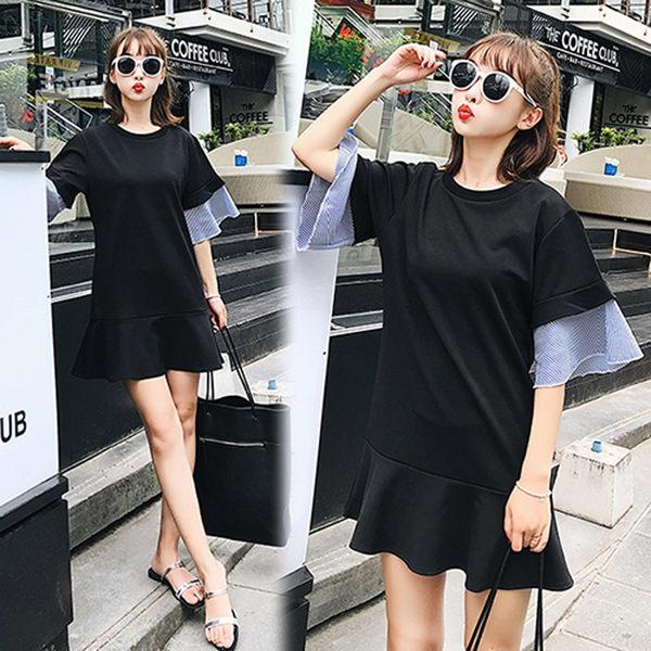 【韓國K.W.】(預購) M~L 純色簡單舒適拼接寬鬆洋裝